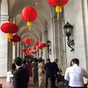 Wedding setting with red lanterns