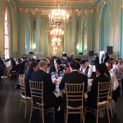 People eating at wedding event