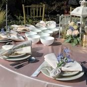 Pretty table settings at wedding dinner