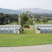 Outdoor wedding with arch