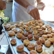 Preparing food for event