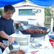 Preparing food for outdoor event