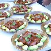 Beautiful dishes of food for wedding event guests