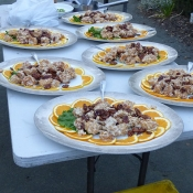 Platters of food for wedding guests